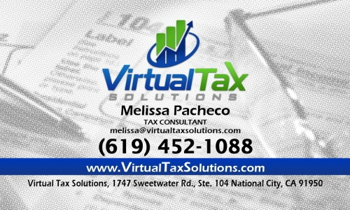 Virtual Tax Solutions business card